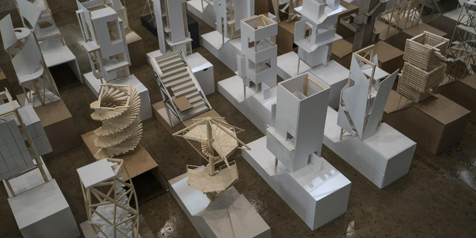 Models from the Tectonics Studio (ARC 301 and ARC 504), Building 7 Atrium (George Proctor)
