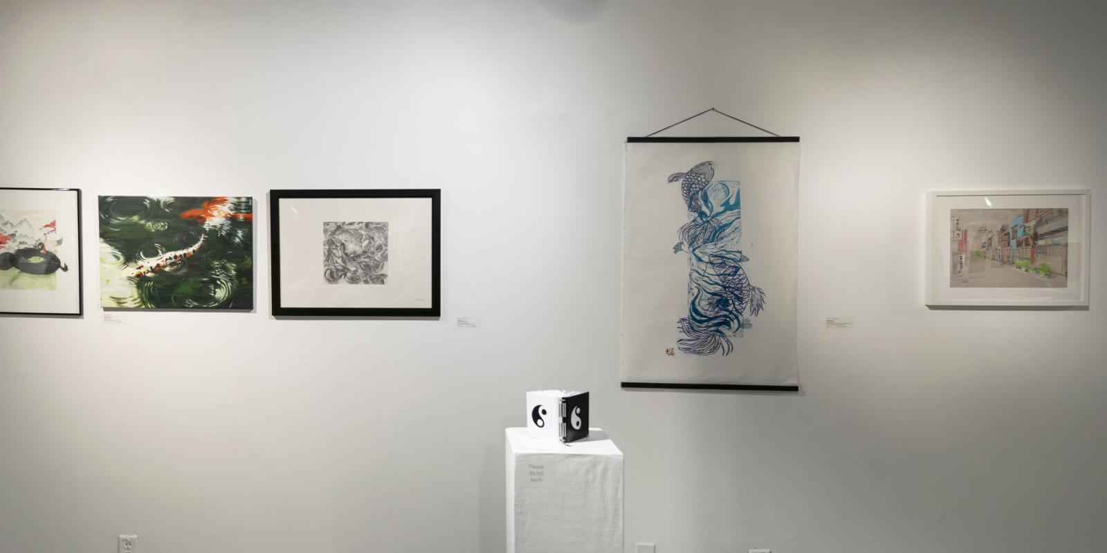 2D3D artwork at back of gallery, Exhibition: PolyKroma 2019, Apr.27, 2019 to May 19, 2019, Co-curated by Michele Cairella Fillmore & Sooyun Im, W. Keith & Janet Kellogg Art Gallery, Cal Poly Pomona.