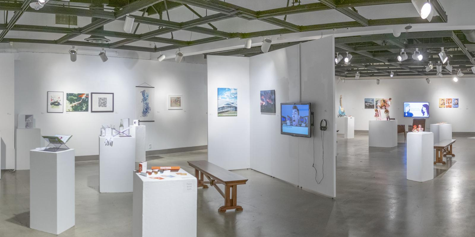 Back of gallery, Exhibition: PolyKroma 2019, Apr.27, 2019 to May 19, 2019, Co-curated by Michele Cairella Fillmore & Sooyun Im, W. Keith & Janet Kellogg Art Gallery, Cal Poly Pomona.