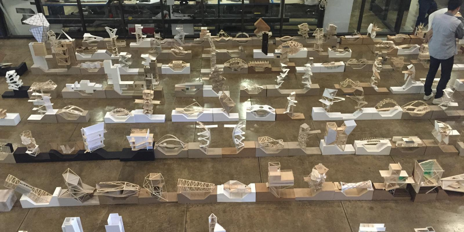 Architecture models on display at the Atrium in Building 7