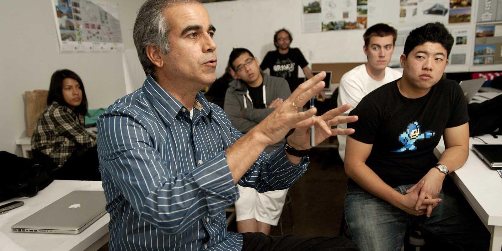 Lyle Center Director Pablo La Roche at a sustainable architecture lecture