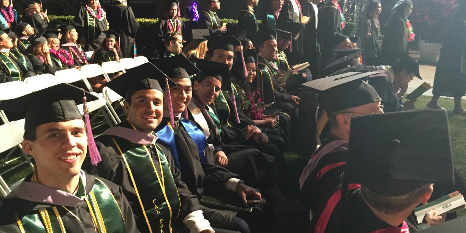 Architecture students in regalia at CPP commencement 2016
