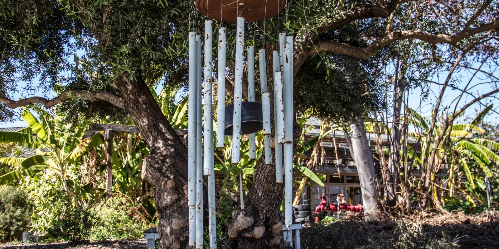 Windchimes at the entrance of the Lyle Center courtyard (Mark Maryanovich Photopgraphy)
