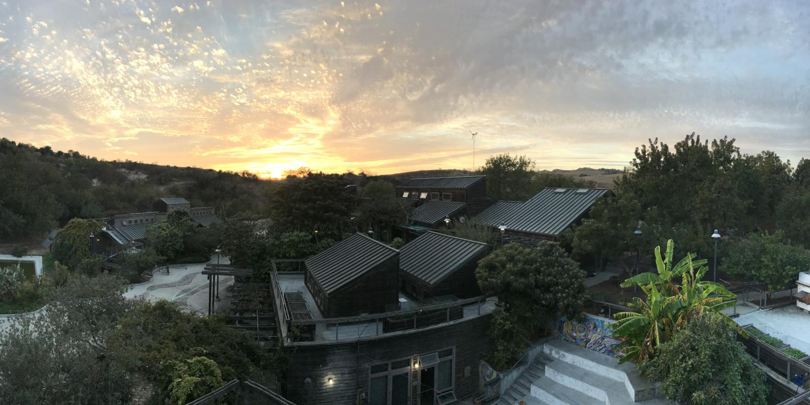 Sunset view of the Lyle Center for Regenerative Studies