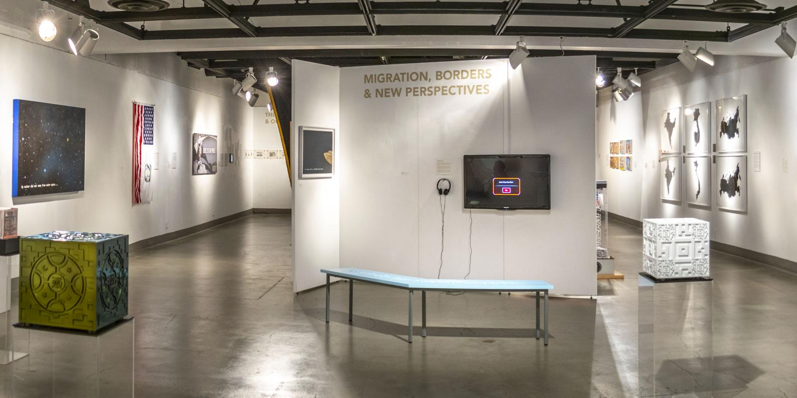Back eastside view of the gallery, Exhibition: Somewhere In Between, Nov 6, 2018 - Mar 17, 2019,  Co-curated by Michele Cairella Fillmore & Bia Gayotto, W. Keith & Janet Kellogg Art Gallery, Cal Poly Pomona.