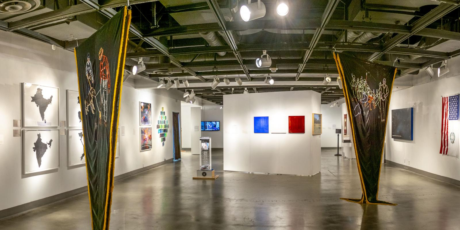 Back westside view of the gallery, Exhibition: Somewhere In Between, Nov 6, 2018 - Mar 17, 2019,  Co-curated by Michele Cairella Fillmore & Bia Gayotto, W. Keith & Janet Kellogg Art Gallery, Cal Poly Pomona.