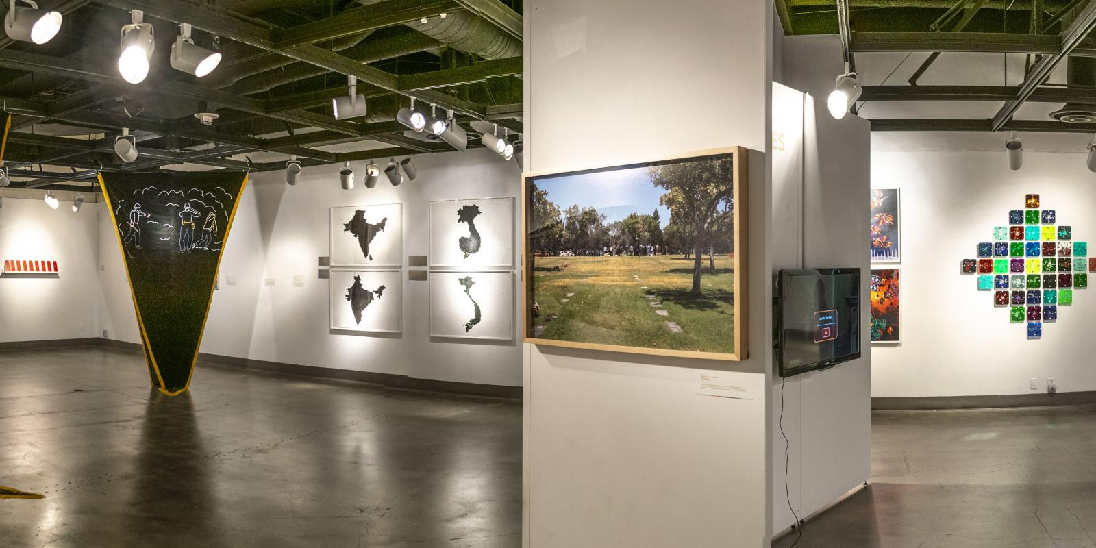 Back view of the gallery, Exhibition: Somewhere In Between, Nov 6, 2018 - Mar 17, 2019,  Co-curated by Michele Cairella Fillmore & Bia Gayotto, W. Keith & Janet Kellogg Art Gallery, Cal Poly Pomona.