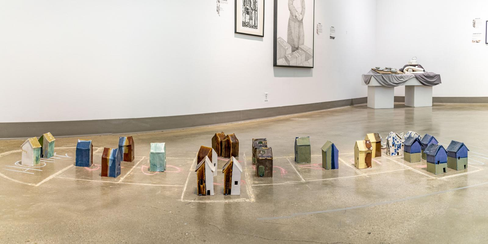"""Installation View, Front of gallery, Exhibition: """"Ink & Clay 44"""", Aug.22, 2019 to Nov. 21, 2019, Curator: Michele Cairella Fillmore, W. Keith & Janet Kellogg Art Gallery, Cal Poly Pomona."""