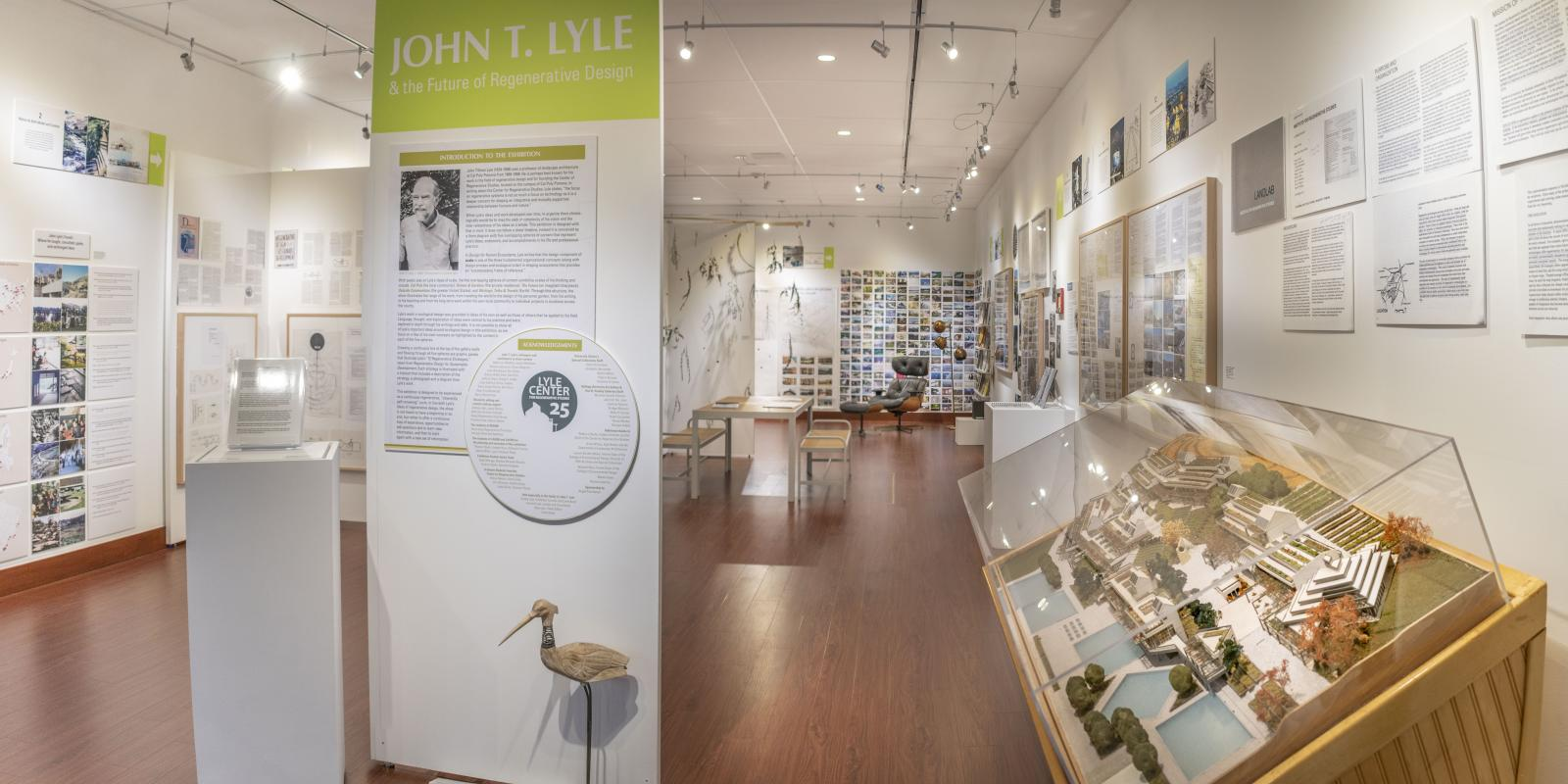"Installation View, Gallery entrance, ""John T. Lyle and the Future of Regenerative Design"" Exhibition, Oct. 17, 2019 to Dec. 8, 2019, Curator: Cybele Lyle, Don B. Huntley Gallery, Cal Poly Pomona."