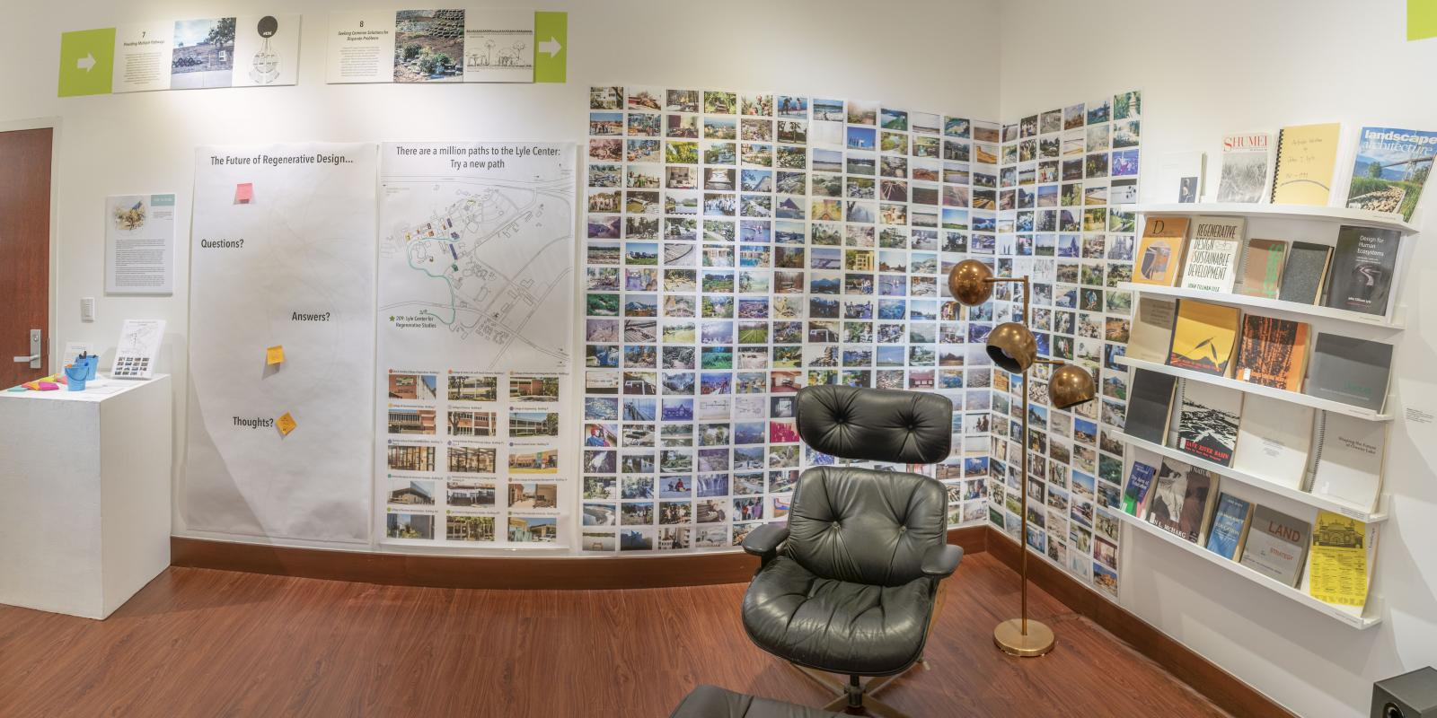 "Installation View, Reading nook at back of gallery, ""John T. Lyle and the Future of Regenerative Design"" Exhibition, Oct. 17, 2019 to Dec. 8, 2019, Curator: Cybele Lyle, Don B. Huntley Gallery, Cal Poly Pomona."