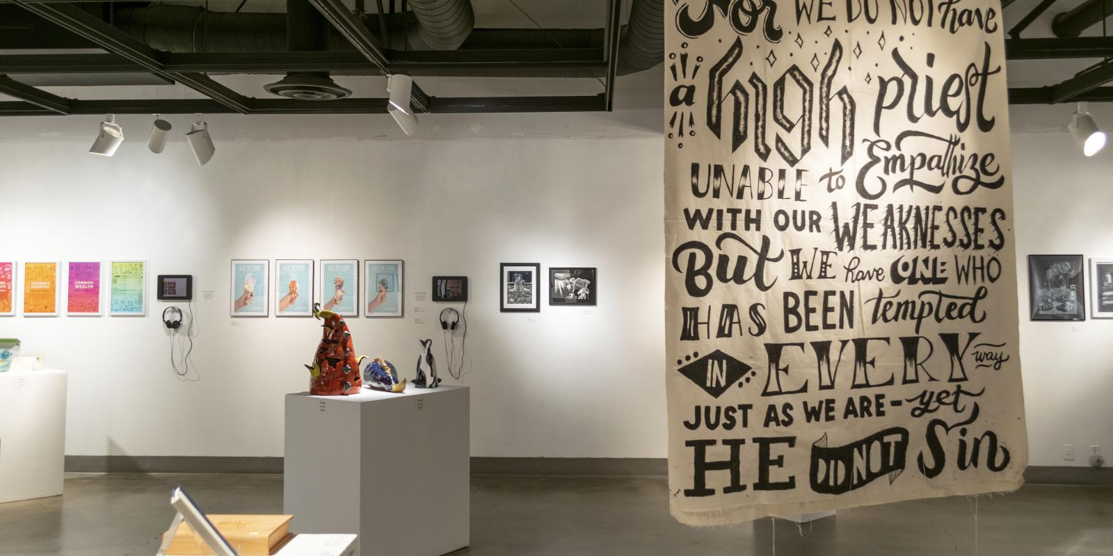 Back of gallery, Exhibition: PolyKroma 2018, May 19 - Jun 10, 2018, Co-curated by Michele Cairella Fillmore & Sooyun Im, W. Keith & Janet Kellogg Art Gallery, Cal Poly Pomona.