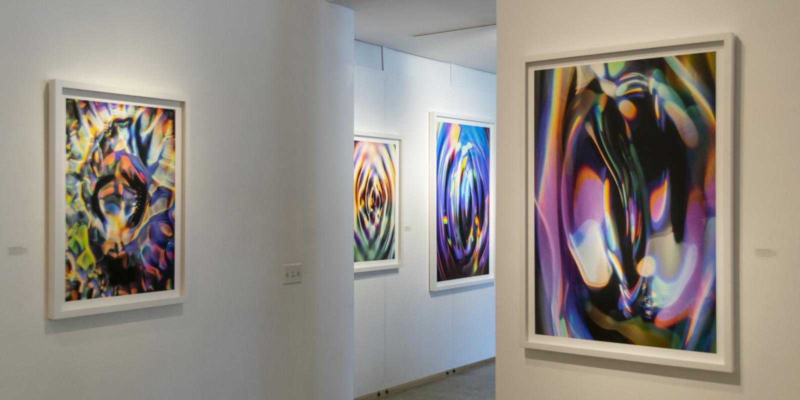 Eastside view of gallery, Exhibition: Sasha vom Dorp: 15.15 Hz, Aug. 23 - Oct. 18, 2018, Curator: Michele Cairella Fillmore, W. Keith & Janet Kellogg Art Gallery, Cal Poly Pomona. [Artist Sasha vom Dorp captures the interaction of light, sound and water in high-speed photography (Photo Credit: William W. Gunn)]