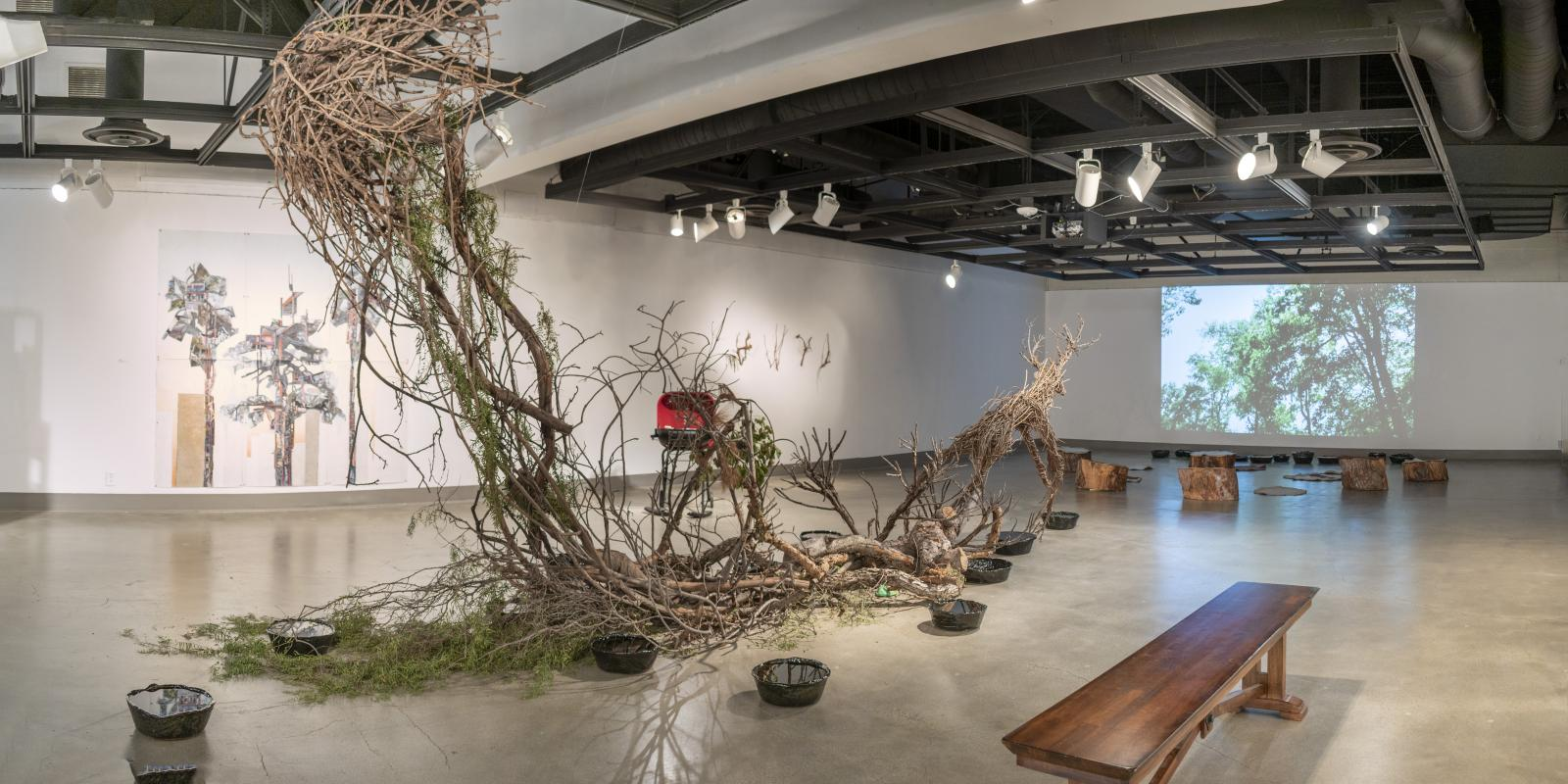 "Installation View, Back of gallery, ""St. Broxville Wood: Into the Thicket"", Exhibition, Artists: Jennifer Gunlock, Hilary Norcliffe, and Katie Stubblefield. Jan. 21, 2020 to Dec.13, 2020 (extended indefinitely after Dec. 13, 2020), Curator: Michele Cairella Fillmore, W. Keith & Janet Kellogg Art Gallery, Cal Poly Pomona."
