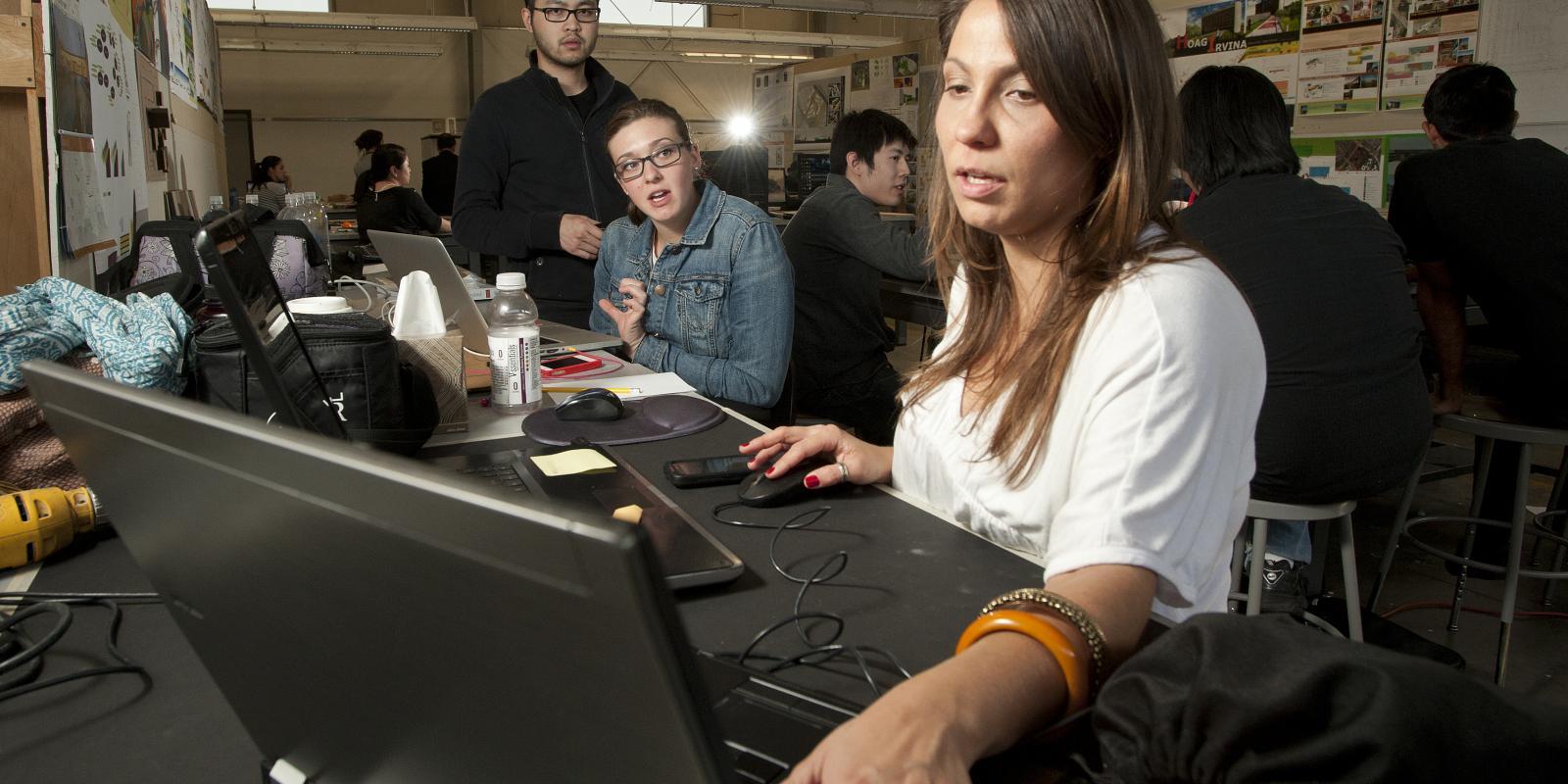 Students pore over project designs in CPP/ARC's Healthcare Architecture topic studio
