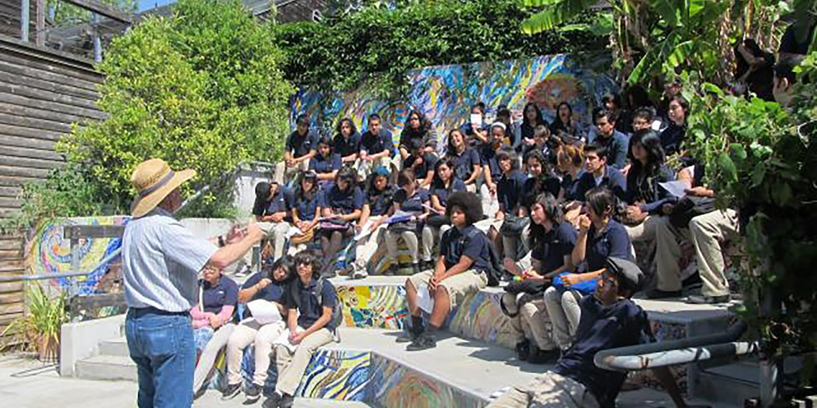 A group of middle school students during a field trip at the Lyle Center