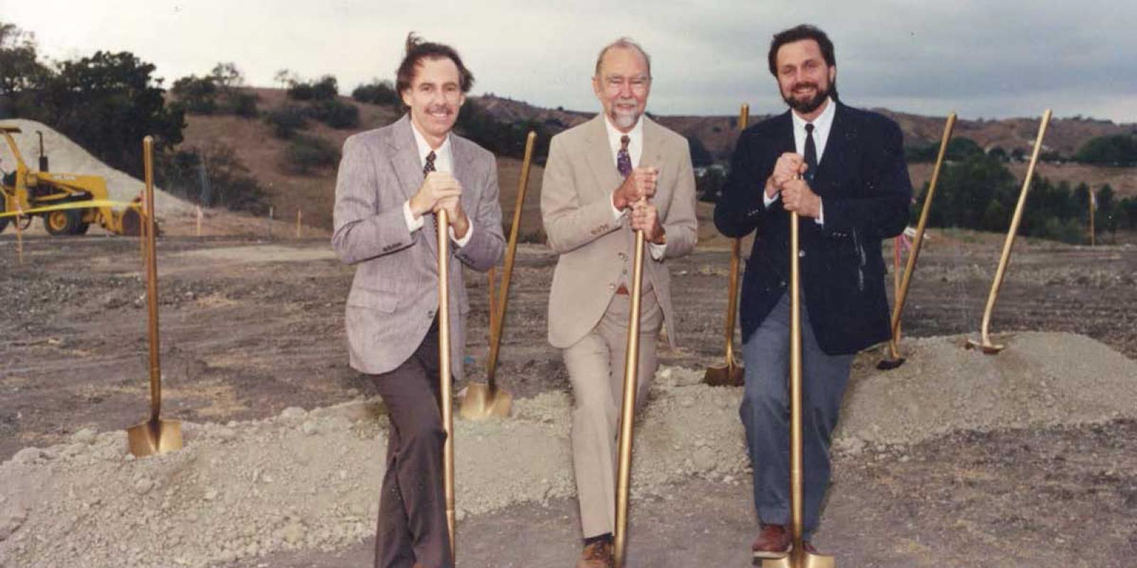 Founding director John T. Lyle (center) at the 1992 groundbreaking ceremony