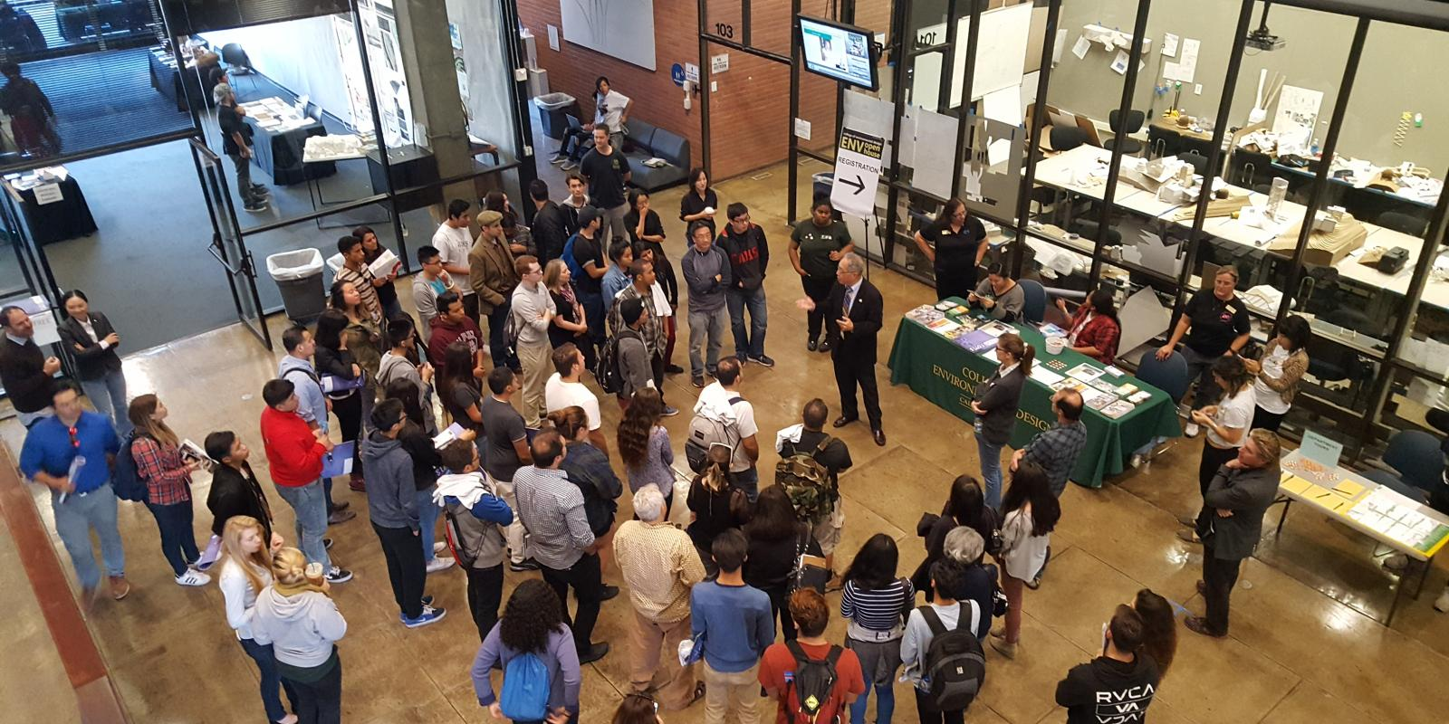 Dean Michael Woo addresses prospective students at the ENV Open House, November 2016