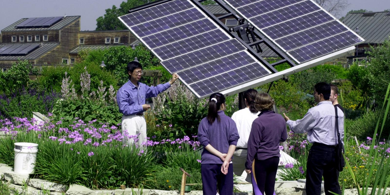 Regenerative Studies students deep in discussion on strategies in solar energy