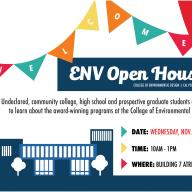 Undeclared majors, prospective students and education professionals are invited to the 2019 ENV Fall Open House, Nov. 6
