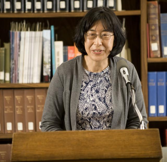 Lin Wu, a professor of geography and anthropology and Lyle Center lecturer, at the 24th Annual Golden Leaves Award Ceremony