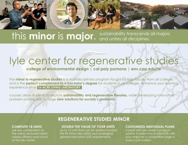 The regenerative studies minor complements bachelor's degrees in the design, engineering, and social and physical science fields.