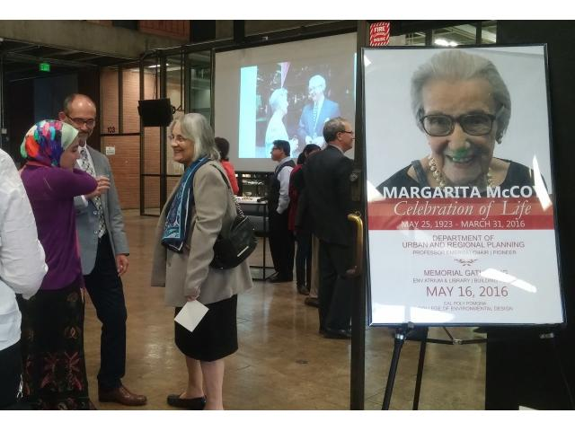 Margarita McCoy Celebration of Life hosted by the College of Environmental Design on May 16, 2016