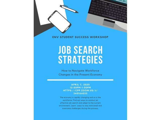 The first Zoom-based Student Success workshop will focus on job search strategies during a pandemic