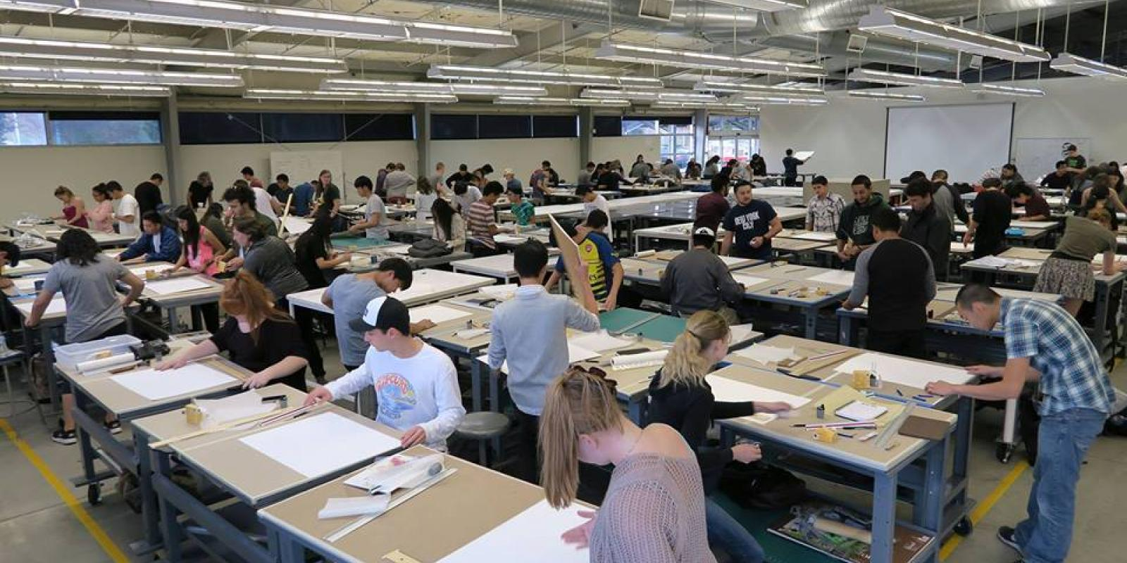 First year design students working in studio