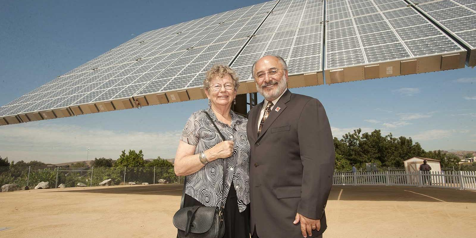 Harriett Lyle, widow of John T. Lyle, and former Cal Poly Pomona President Michael Ortiz during flip the switch ceremony for its new Amonix 7700 solar panel system at the Lyle Center, September 2010