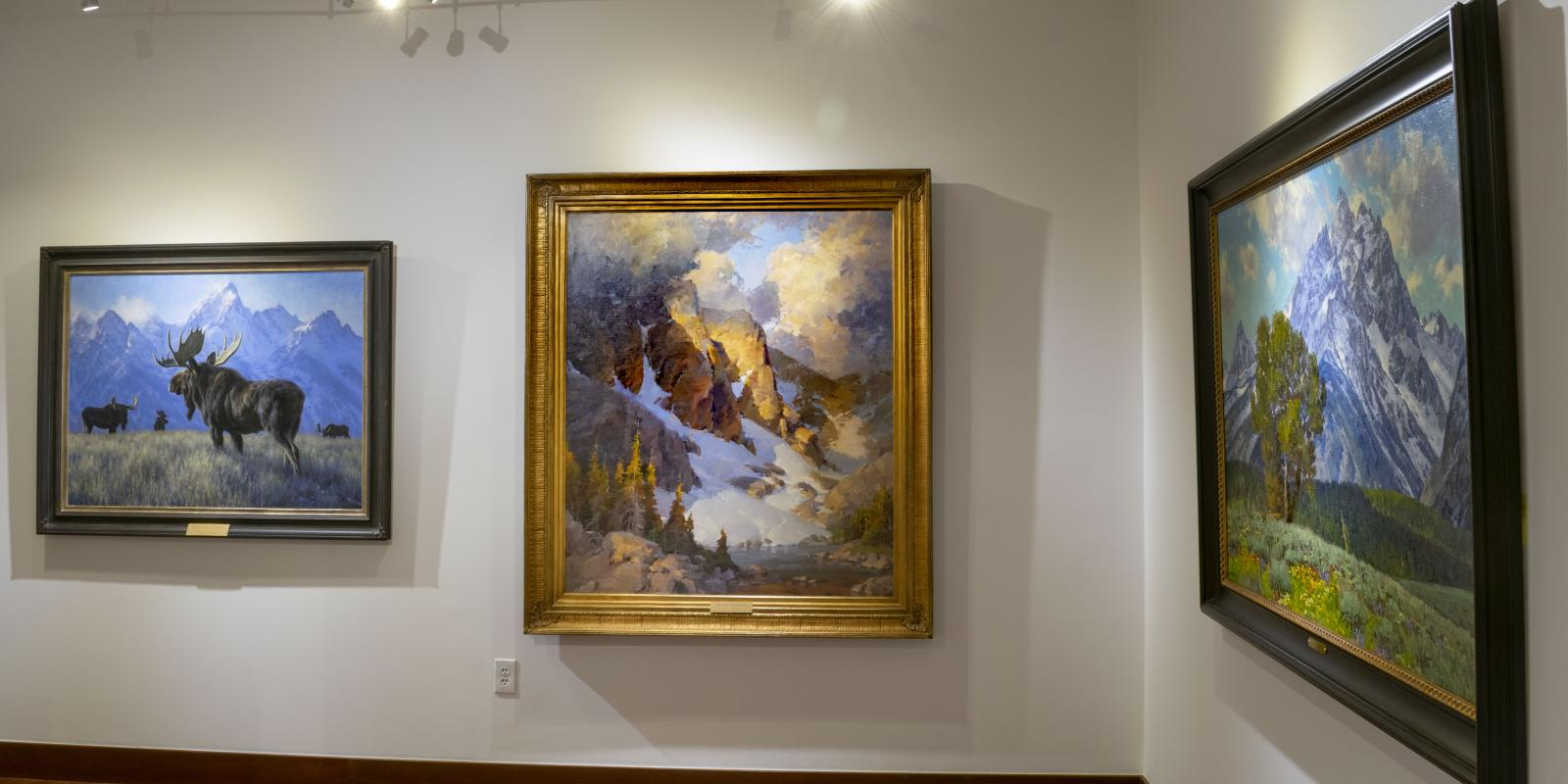 """Installation View, Back of gallery, """"Art of the West: New Acquisitions"""" Exhibition, Jun 24, 2019 to Sep26, 2019, Curator: Michele Cairella Fillmore, Don B. Huntley Gallery, Cal Poly Pomona."""