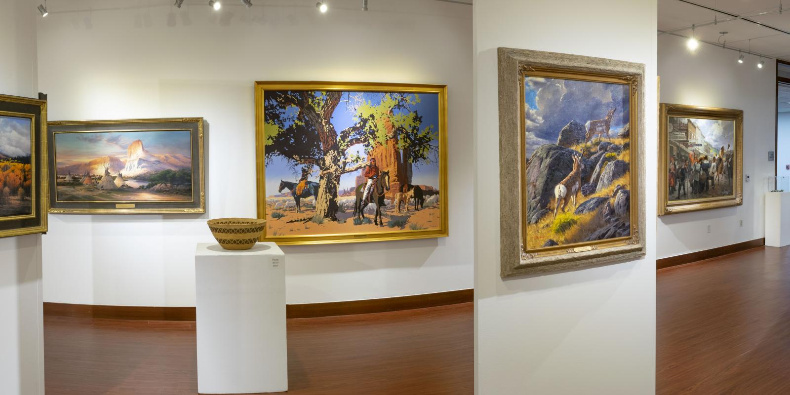 """Installation View, Center of gallery, """"Art of the West: New Acquisitions"""" Exhibition, Jun 24, 2019 to Sep26, 2019, Curator: Michele Cairella Fillmore, Don B. Huntley Gallery, Cal Poly Pomona."""