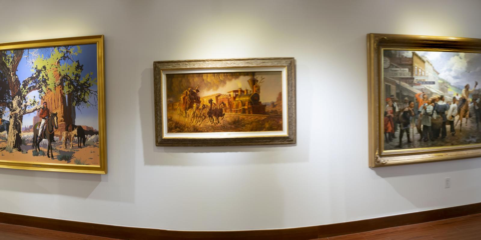 """Installation View, Front of gallery, """"Art of the West: New Acquisitions"""" Exhibition, Jun 24, 2019 to Sep26, 2019, Curator: Michele Cairella Fillmore, Don B. Huntley Gallery, Cal Poly Pomona."""