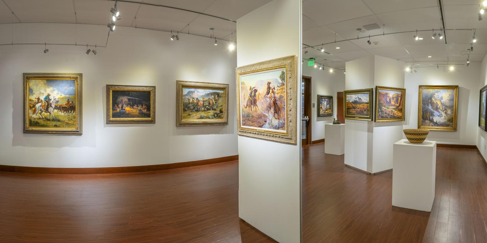 """Installation View, Entrance of gallery, """"Art of the West: New Acquisitions"""" Exhibition, Jun 24, 2019 to Sep26, 2019, Curator: Michele Cairella Fillmore, Don B. Huntley Gallery, Cal Poly Pomona."""