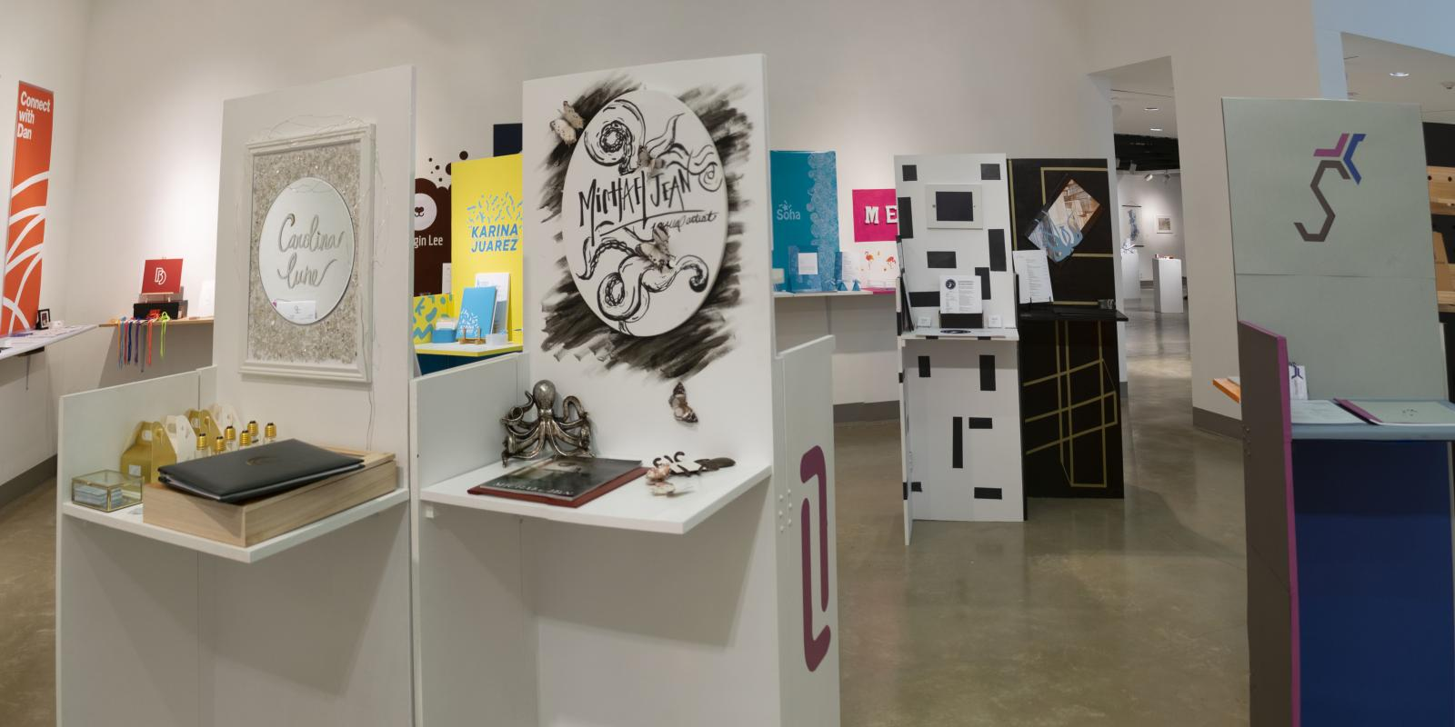 Senior Portfolio area at front of gallery, Exhibition: PolyKroma 2019, Apr.27, 2019 to May 19, 2019, Co-curated by Michele Cairella Fillmore & Sooyun Im, W. Keith & Janet Kellogg Art Gallery, Cal Poly Pomona.