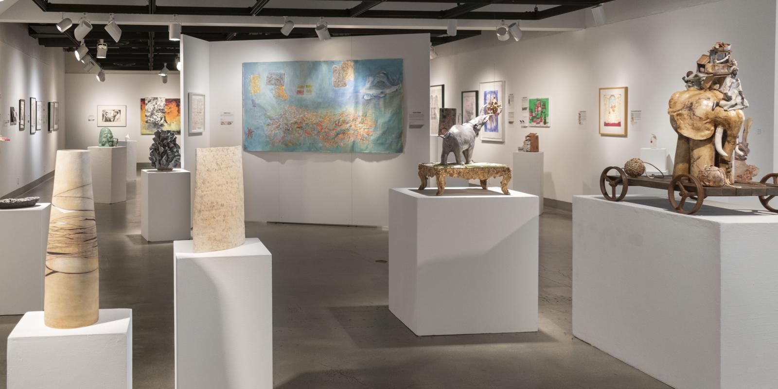 """Installation View, Back of gallery, Exhibition: """"Ink & Clay 44"""", Aug.22, 2019 to Nov. 21, 2019, Curator: Michele Cairella Fillmore, W. Keith & Janet Kellogg Art Gallery, Cal Poly Pomona."""