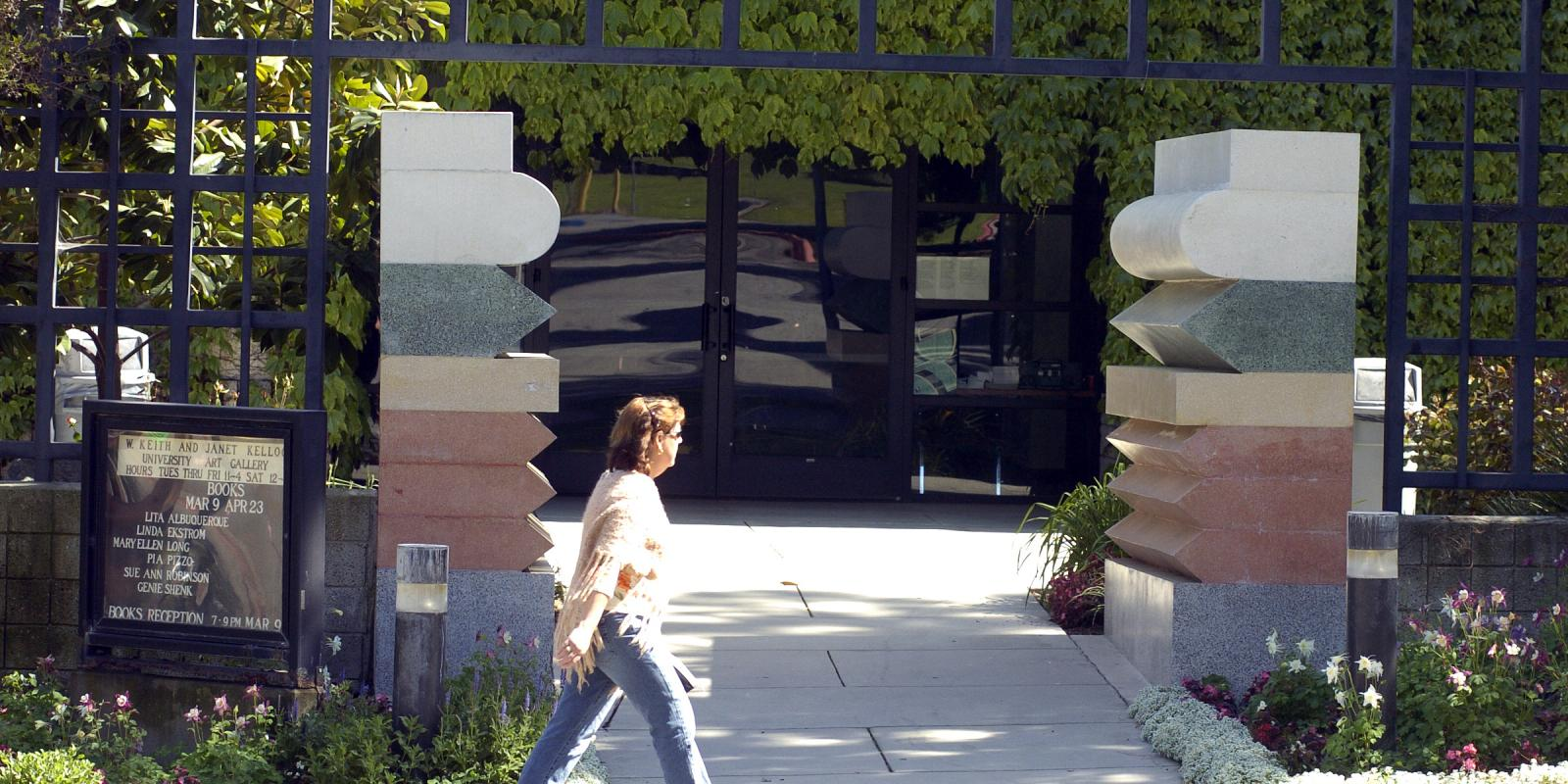 """""""The Gates"""" by Ettore Sotsass, at the entrance of the W. Keith and Janet Kellogg University Art Gallery"""