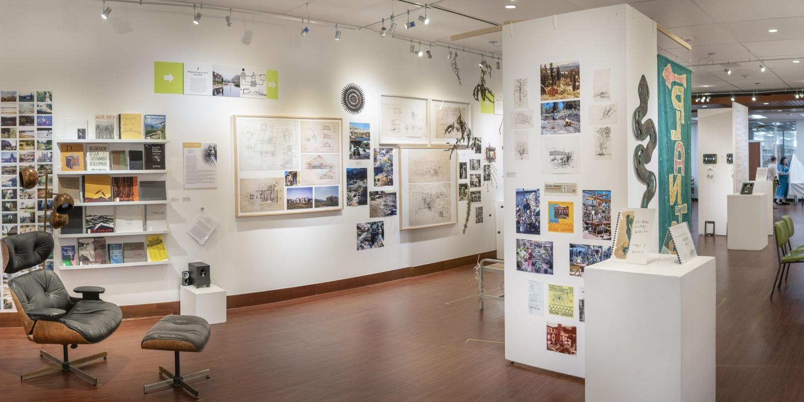 """Installation View, Back of gallery, """"John T. Lyle and the Future of Regenerative Design"""" Exhibition, Oct.17, 2019 to Dec.8, 2019, Curator: Cybele Lyle, Don B. Huntley Gallery, Cal Poly Pomona."""
