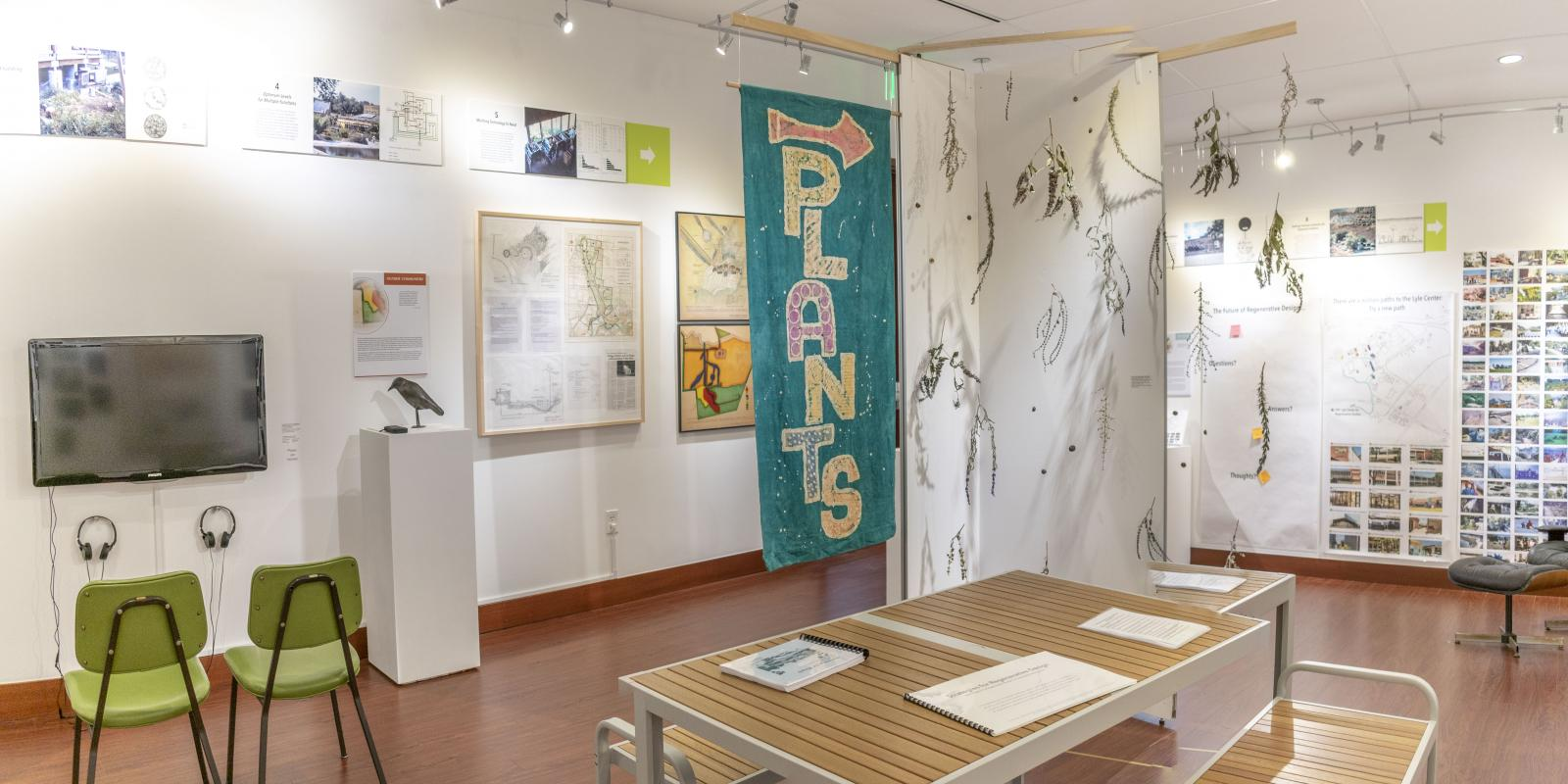 """Installation View, Center of gallery, """"John T. Lyle and the Future of Regenerative Design"""" Exhibition, Oct.17, 2019 to Dec.8, 2019, Curator: Cybele Lyle, Don B. Huntley Gallery, Cal Poly Pomona."""