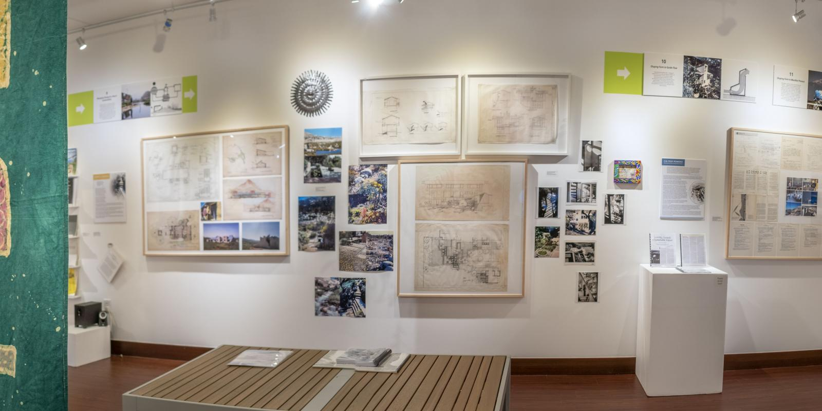 """Installation View, Center of gallery, """"John T. Lyle and the Future of Regenerative Design"""" Exhibition, Oct.17, 2019 to Dec.8, 2019, Curator: Cybele Lyle, Don B. Huntley Gallery, Cal Poly Pomona.llery, Exhibition: John T. Lyle and the Future of Regenerative Design, Oct.17, 2019 to Dec.8, 2019, Curator: Cybele Lyle, W. Keith & Janet Kellogg Art Gallery, Cal Poly Pomona."""