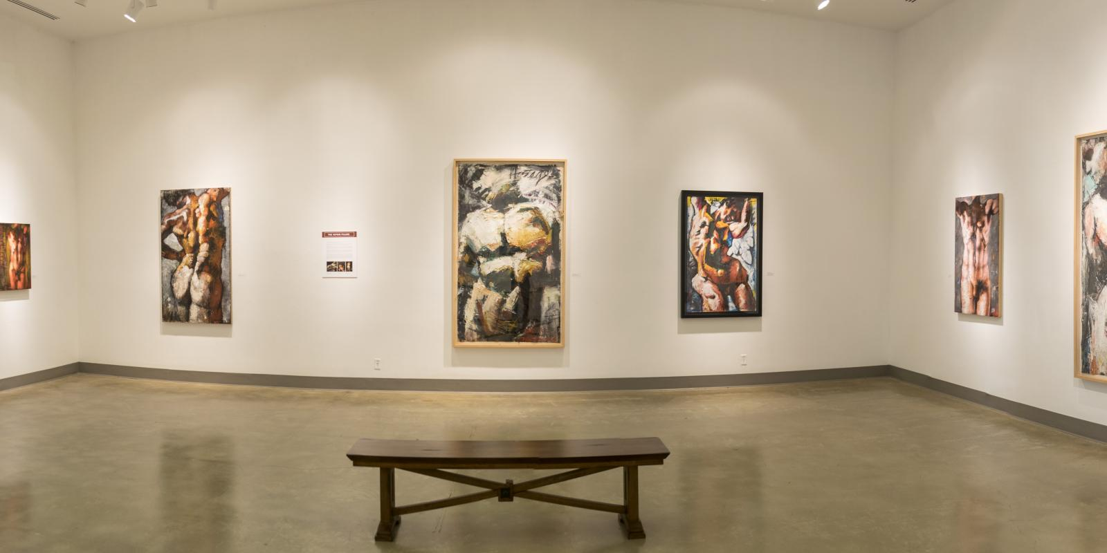 Eastside of front gallery, Exhibition: Jim Morphesis: Passion and Presence, Memento and Myth, Nov 18, 2017 - Feb 1, 2018, Curator: Michele Cairella Fillmore, W. Keith & Janet Kellogg Art Gallery, Cal Poly Pomona. [Panoramic of the South gallery]