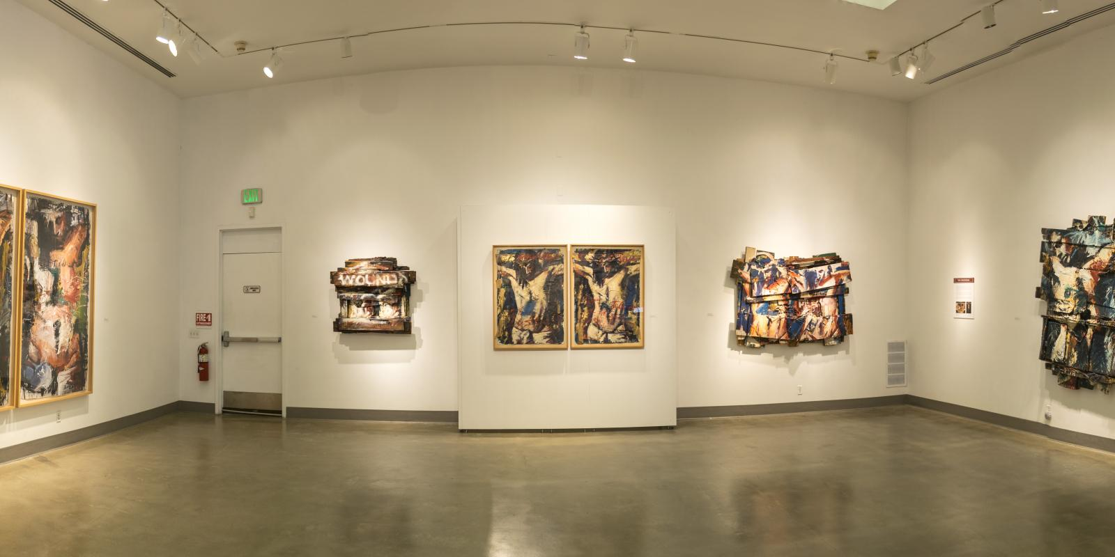 Westside of front gallery, Exhibition: Jim Morphesis: Passion and Presence, Memento and Myth, Nov 18, 2017 - Feb 1, 2018, Curator: Michele Cairella Fillmore, W. Keith & Janet Kellogg Art Gallery, Cal Poly Pomona. [Panoramic of the North gallery]