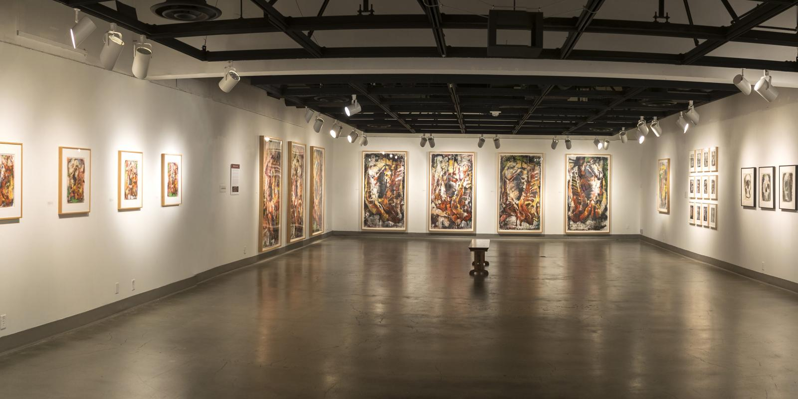 Westside of back gallery, Exhibition: Jim Morphesis: Passion and Presence, Memento and Myth, Nov 18, 2017 - Feb 1, 2018, Curator: Michele Cairella Fillmore, W. Keith & Janet Kellogg Art Gallery, Cal Poly Pomona. [Panoramic of the back gallery]