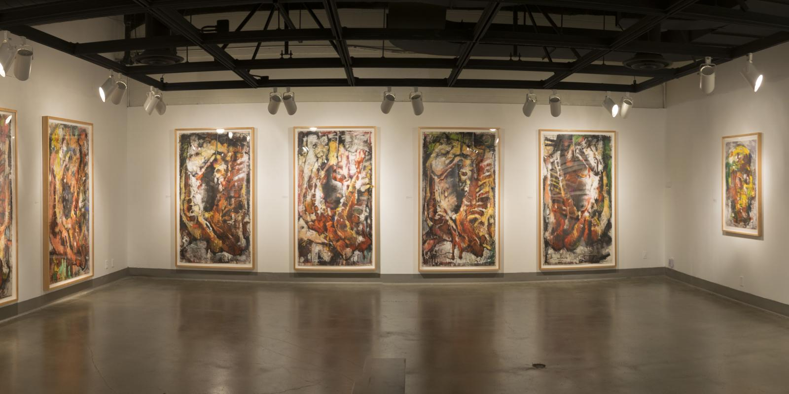Westside of back gallery, Exhibition: Jim Morphesis: Passion and Presence, Memento and Myth, Nov 18, 2017 - Feb 1, 2018, Curator: Michele Cairella Fillmore, W. Keith & Janet Kellogg Art Gallery, Cal Poly Pomona. [Closer look at the back gallery]