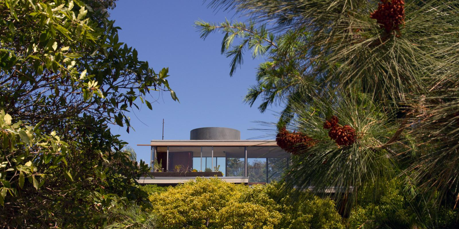 View of the Neutra VDL House through the trees