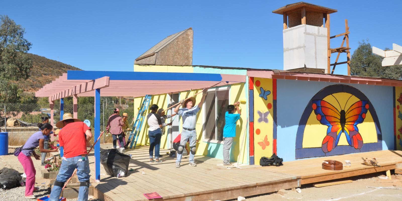 Lyle Center students and Cerro Azul residents built the town's low-cost sustainable community center