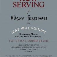 Associate Professor Alison Pearlman will be talking about her latest book with Los Angeles Magazine Food Editor Garrett Snyder