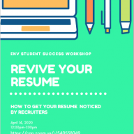 Learn effective strategies to revive your resume at the  April 14 Student Success virtual workshop