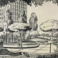 Union Bank Plaza, Los Angeles, ca. 1965. Drawing by Francis Dean, EDAW (Francis Dean Collection, ENV Special Collections)