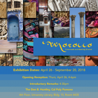 Information about the Morocco show, featuring some of the images used in the show, weaved together to emulate the visual layering used in Morocco