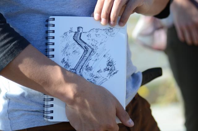 Aqueduct Futures sketch at a Los Angeles Aqueduct field trip